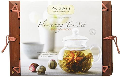 Numi Gift Set In Bamboo Chest, Teapot & Tea Blossoms