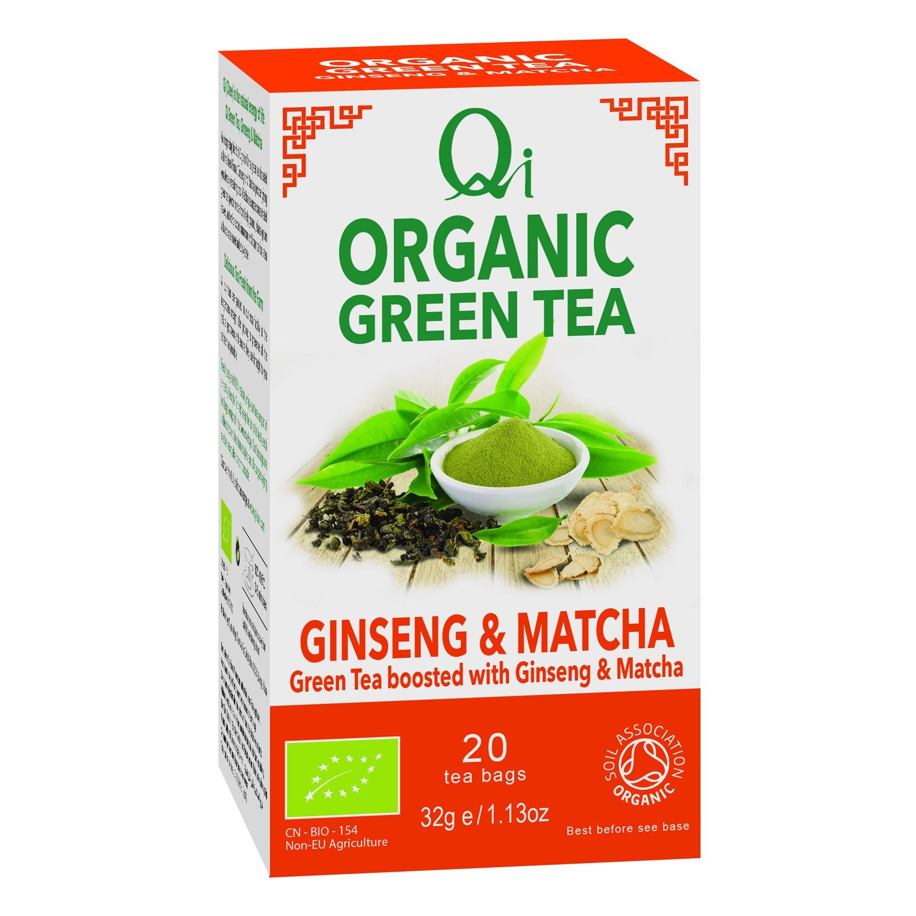 Qi Organic Green Tea Ginseng Matcha Bags Organic Tea